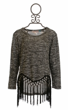 Vintage Havana Charcoal Hi Low Fringe Sweater