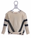 Vintage Havana Designer Sweater in Ivory and Black Diagonal (Size MD 10)
