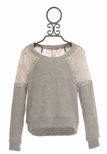 Vintage Havana Girls Grey Sweatshirt with Crochet Back