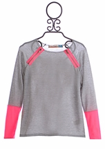 Vintage Havana Girls Long Sleeve Top with Pink Zippers (Size MD 10)
