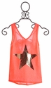 Vintage Havana Neon Orange Tank with Gold Star (SM 7/8 & LG 12)