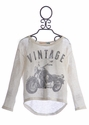 Vintage Havana Slouchy Long Sleeve Top Motorcycle Girl