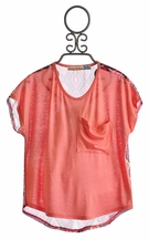 Vintage Havana Tween Orange Top with Chiffon Back (Size MD 10)