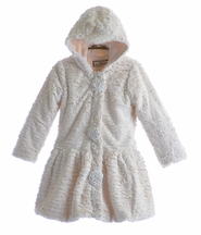 Widgeon Fancy Girls Fur Coat in Ivory (3T, 4T, 4, 5)