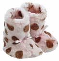 Widgeon Faux Fur Baby Booties Pink Dalmation