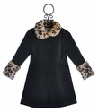 Widgeon Girls Black Coat with Leopard Fur