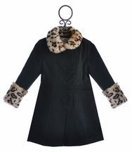 Widgeon Girls Black Coat with Leopard Fur (Size 5)