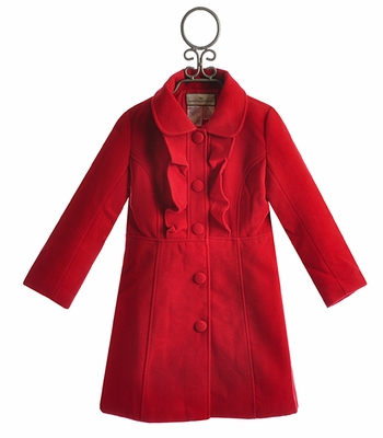 Widgeon Girls Fancy Coat in Red Ruffle