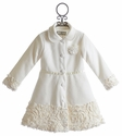 Widgeon Girls Ivory Coat with Faux Fur Trim