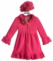 Widgeon Girls Pink Winter Coat with Flower Collar