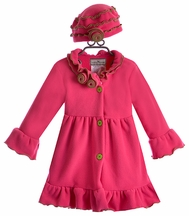 Widgeon Girls Pink Winter Coat with Flower Collar (12Mos & 3T)