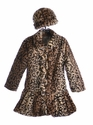 Widgeon Girls Ruffle Front Coat in Leopard