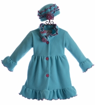 Widgeon Girls Winter Coat and Hat in Turquoise (18Mos, 4, 5)