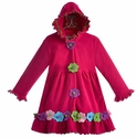 Widgeon Hooded Fleece Coat for Girls with Flowers