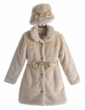 Widgeon Ivory Fur Coat for Girls with Belt