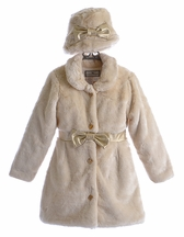 Widgeon Ivory Fur Coat for Girls with Belt (6 & 6X)