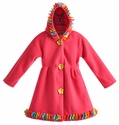 Widgeon Pink Hooded Girls Coat with Flowers - 12 Mos