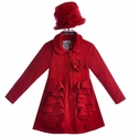 Widgeon Red Ruffle Coat for Girls with Hat