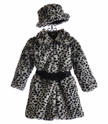 Widgeon Snow Leopard Girls Winter Coat with Hat