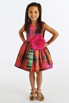 Zoe LTD Abstract Plaid Dress for Girls in Multicolor