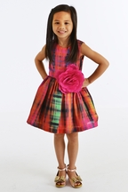 Zoe LTD Abstract Plaid Dress for Girls in Multicolor (4,6,6X,8)