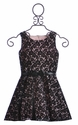 Zoe LTD Black Lace Overlay Dress for Girls (7, 10)