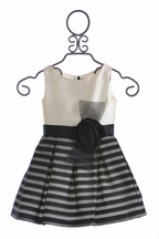 Zoe LTD Designer Dress for Girls in Ivory and Black (Size 8)