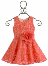 Zoe LTD Girls Coral Lace Dress (7 & 16)