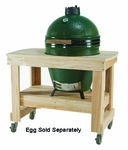 Compact Wood Table with Wheels for Large Big Green Egg