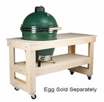 Long Wood Table with Wheels for Large Big Green Egg
