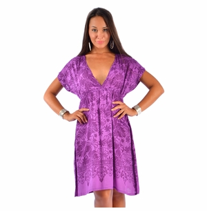 Floral Cover-Up Tunic Short Dress with  Deep V-Neck in Purple