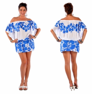 Floral Off the Shoulder Cover-Up Tunic Short Dress in White/Blue