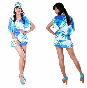 Hibiscus in Turquoise/White Cover-Up Short Dress
