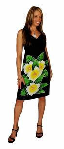 MINI BLACK DRESS WITH HAND PAINTED PLUMERIA DESIGN