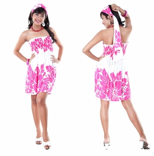 Pink and White Three Leis Strapless Dress Cover-Up - Bonus Scarf Included