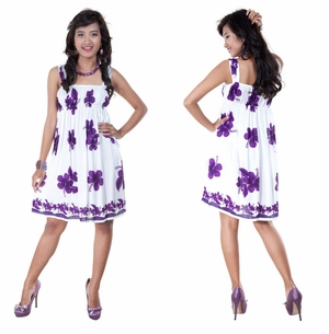 Polynesian Floral Short Dress with Cap Sleeves in Purple