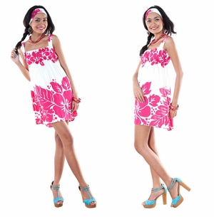 Sleeveless Triple Lei Pink/White Cover-Up Short Dress