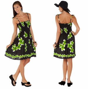 Sundress/Tube Dress Plumeria Design Black/Green
