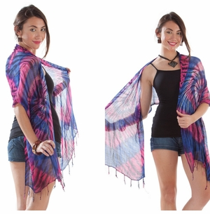 Tie Dye Gauze Scarf in Pink and Purple