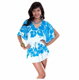 Triple Lei Turquoise/White Cover-Up Short Dress