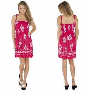 Tube Top Sundress Hibiscus Design in Pink/ White