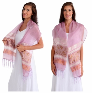 Two Toned Silky Scarf in Light Pink - Assorted