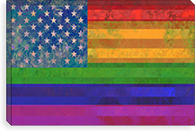 American Rainbow Flag, Gay Lesbian Rights Canvas Print #FLG12