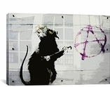 Anarchy Rat By Banksy Canvas Print #2027