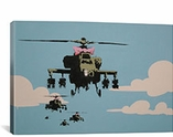 Banksy Happy Choppers-Helicopter By Banksy Canvas Print #2020