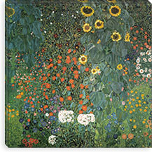 Bauerngarten mit Sonnenblumen (Flower Garden with Sunflowers) By Gustav Klimt Canvas Print #14016