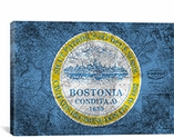 Boston, Massachusetts Flag, Grunge Vintage Map Canvas Print #FLG565