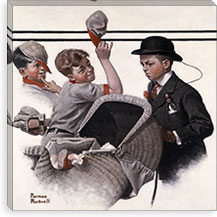 Boy With Baby Carriage By Norman Rockwell Canvas Print #13436