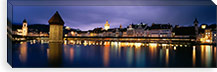 Buildings lit up at dusk, Chapel Bridge, Reuss River, Lucerne, Switzerland #PIM2215