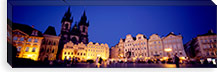 Buildings lit up at dusk, Prague Old Town Square, Old Town, Prague, Czech Republic #PIM5500
